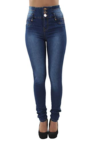 Colombian Design, Butt Lift, Push Up, High Waist, Skinny Jeans in Washed Dark Blue Size 11 (ML1)