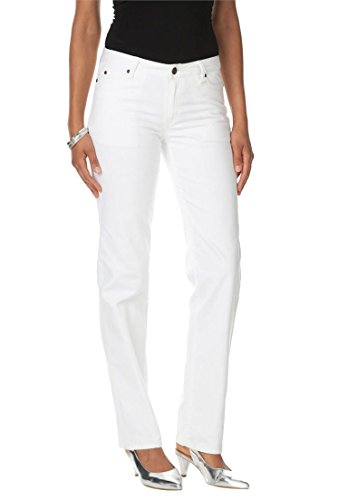 Women's Plus Size Straight Leg Jeans With Invisible Stretch Waistband White