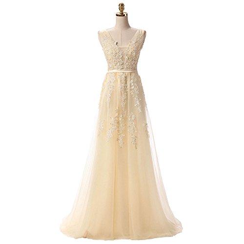 Nicefashion Women's Stunning Lace V Neck Long Marine Ball Gowns Flowy Semi Formal Dress Yellow US8 ()
