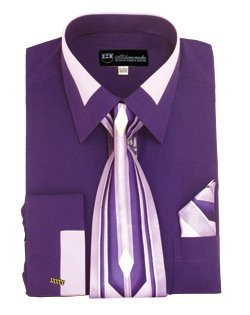 Milano Moda High Fashion Dress Shirt with Contrast Design Tie, Hankie & Cuffs Purple-18-18 1/2-36-37