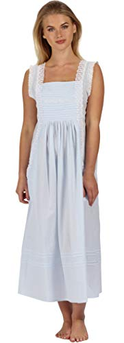 The 1 for U 100% Cotton Long Nightgown with Pockets XS-3X Rebecca (XXXL, Blue)