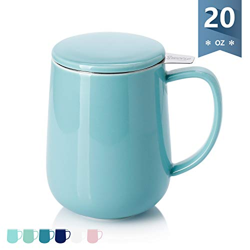 Sweese 204.102 Porcelain Tea Mug with Infuser and Lid, 20 OZ, Turquoise
