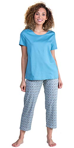 Calida Short Sleeve Cotton Knit Capri Length Pajama Set in Tiffany Mosaic (Blue Turquoise, M)