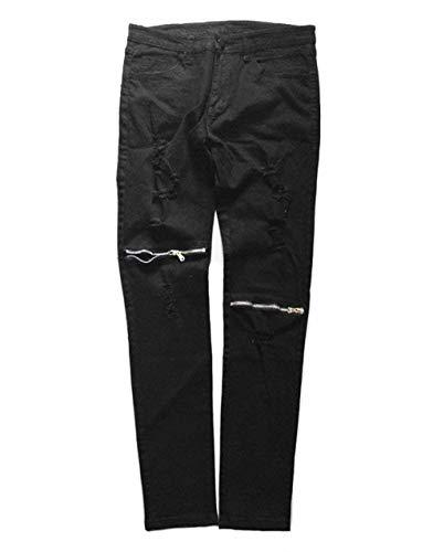 Jaune Ragazzo Fit Casual Uomo Frayed Biker Chiffon Ripped Jeans Skinny Da Pantaloni Cherny In Chino w6SC1wq