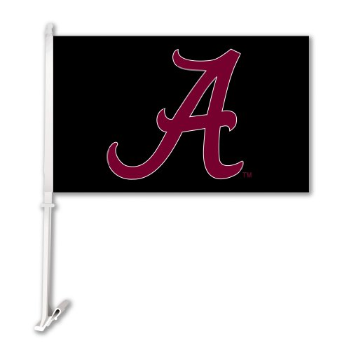 (NCAA Alabama Crimson Tide Car Flag A Red with Black Background with Free Wall Bracket )
