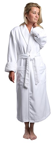 Monarch/Cypress Plush Lined Microfiber Spa Robe - Unisex Luxury Hotel Bathrobe in White/Large