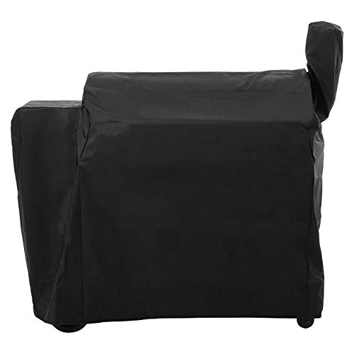SunPatio Outdoor Heavy Duty Waterproof Grill Cover for Traeger 34 Series Wood Pellet Grill and Smoker, Texas and More, Full Length Barbecue Grill Cover, All Weather Protection, Black