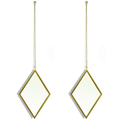 Innate Lifestyles Decorative Hanging Mirrors - Diamond Shaped Accents for The Living Room - 10x6 - Gold - Set of 2