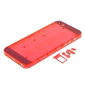 Red Hard Plastic Back Battery Housing with Buttons and Pink Glass For iPhone 5s