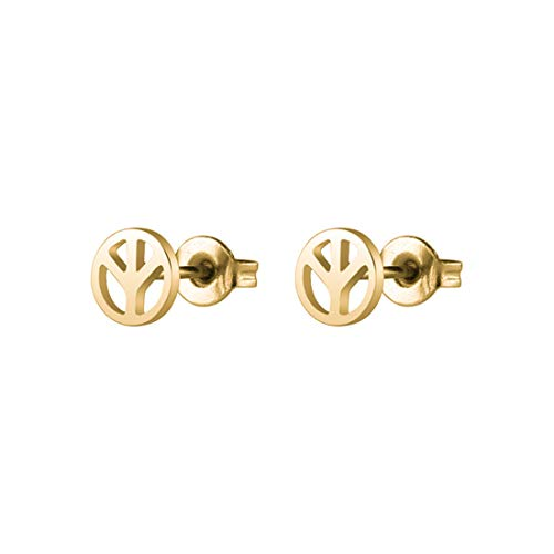 Simple Punk Peace Sign Symbol Stud Earrings Stainless Steel Anti-war Jewelry for Man and Women-gold