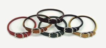 Circle T Black Rolled Leather Dog Collar - 16 in.