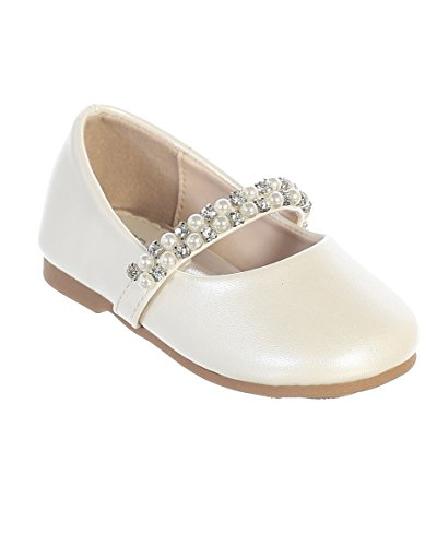 iGirldress Infant Toddler Girls Straps Flower Girls Shoes S116 Ivory Size 4 -