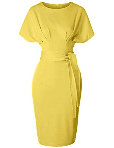 - GownTown Women's 50s 60s Vintage Sexy Fitted Office Pencil Dress Yellow