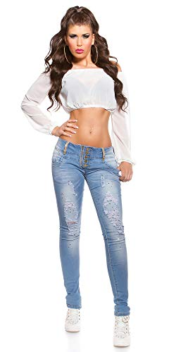 Mujer para Skinny Store Blanco Chiaro Vaqueros Jeans dEtIdwq