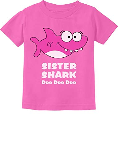 Tstars - Sister Shark Doo Doo Gift for Big Sister Toddler Kids T-Shirt 5/6 Pink
