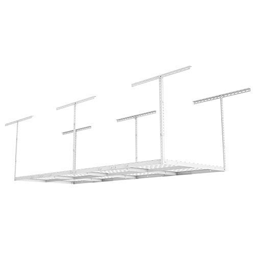 Fleximounts 3x8 Overhead Garage Storage Rack Adjustable Ceiling Storage Rack Heavy Duty, 96'' Length x 36'' Width x 40'' Height, White by FLEXIMOUNTS