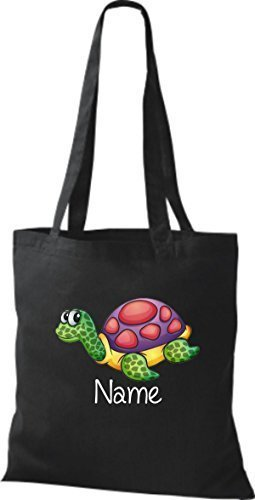 Stoffbeutel mit süßen Motiven inkl. Ihrem Wunschnamen Schildkröte Schwarz B99lrsPvE