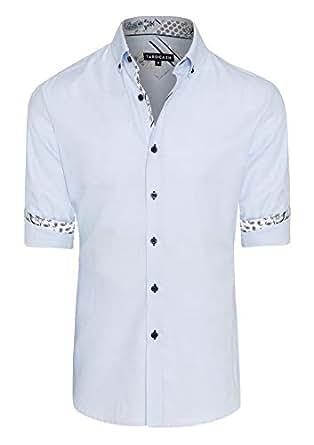 Tarocash Men's Liam Textured Shirt Sky XXL Cotton Regular Fit Long Sleeve Sizes XS-5XL for Going Out Smart Occasionwear