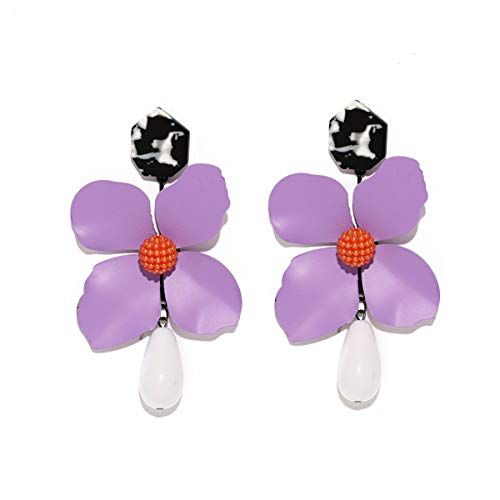 MOOCHI Women Four-leaf clover With Beads Drop Hoop Dangle Earrings - Bead Purple Earrings