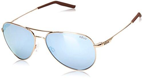 Revo Observer Sunglasses, Gold Frame, Blue Water 58mm Lenses, part of the Serilium ()