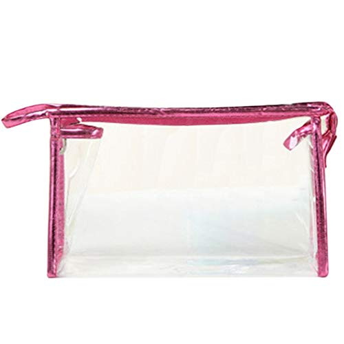 Inverlee 1X Clear Transparent Plastic PVC Travel Cosmetic Make Up Toiletry Bag Zipper (Hot Pink)