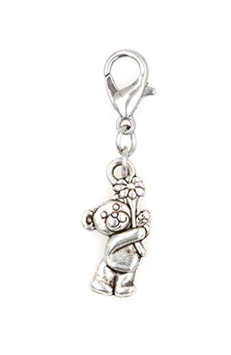 Bear with Flower Clip On Charm Perfect for Necklaces and Bracelets (ZC 97Aj)
