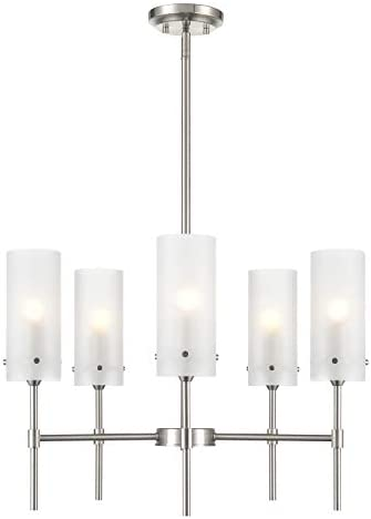 Light Society LS-C239-SN-FR Montreal 5-Light Chandelier in Satin Nickel with Frosted Glass Shades, Contemporary Modern Pendant Lamp