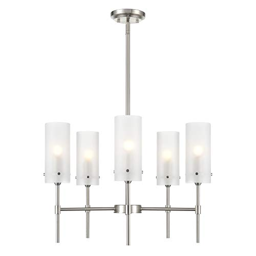Light Society LS-C239-SN-FR Montreal 5-Light Chandelier in Satin Nickel with Frosted Glass Shades, Contemporary Modern Pendant Lamp ()