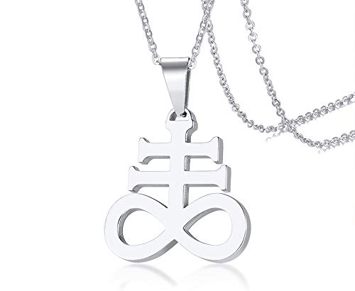 (MEALGUET Leviathan Cross Pendant Church of Satan Satanic Symbol Stainless Steel Jewelry Brimstone Necklace for Men Women,24