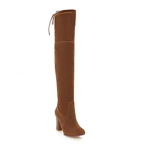 Botines para Mujer con Tacones Gruesos elásticos Altos Sobre la Rodilla Botas largas, Amarillo, 34: Amazon.es: Zapatos y complementos
