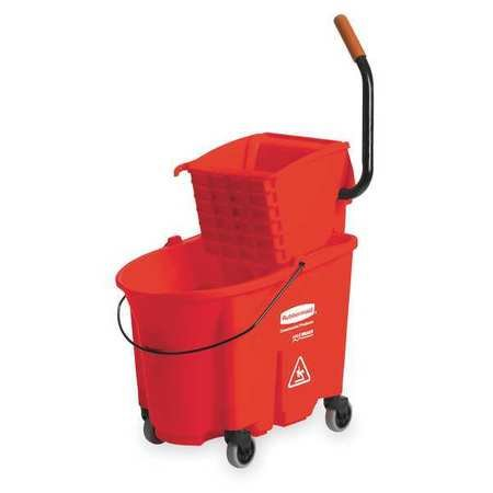 Rubbermaid 758888RED WaveBrake Side-Press Wringer/Bucket Combo 8.75 gal Red