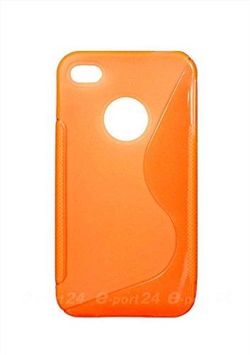 Luxburg® S-Line Design Schutzhülle für Apple iPhone 4S / 4 in Farbe Pastellorange / Orange, Hülle Case aus TPU Silikon