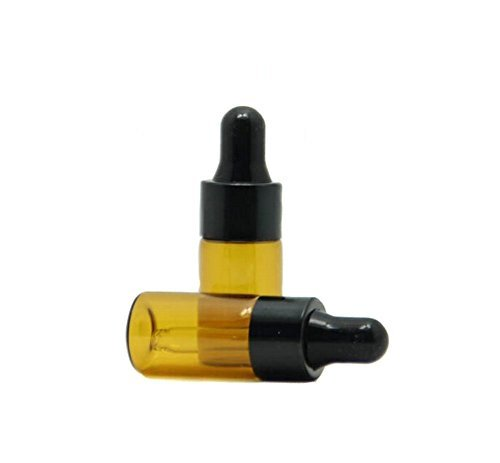 3ml 15 Pcs Refillable Mini Amber Glass Essential Oil Bottles Dropper Bottles Vials With Eyed Dropper For Aromatherapy Eye Dropper Cosmetics (black cap)