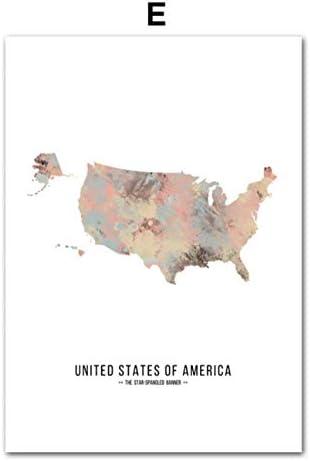 zxkx Francia España Rusia Australia Mapa del Mundo Carteles y Estampas Nórdicos Arte de la Pared Pintura en Lienzo Cuadros en la Pared para la Sala de Estar 40x50 cm: Amazon.es: Hogar