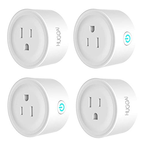 HUGOAI Smart Plug, WiFi Smart Outlet, Works with Alexa, Google Home IFTTT, No Hub Required, ETL Listed, Remote Control Smart Home Devices, Smart Socket Only 2.4GHz WiFi 4 Pieces