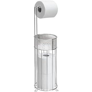 MDesign Free Standing Toilet Paper Holder For Bathroom   Clear/Chrome