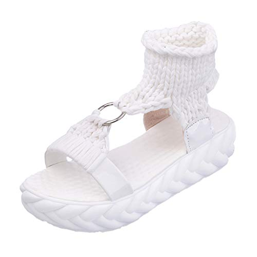 TANGSen Women Solid Ladies Summer Fashion Platform Sandals Comfort Big Size Casual Fashion Sandals Flat Shoes White