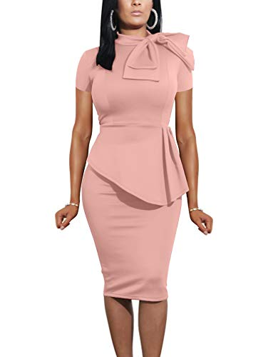 LAGSHIAN Women Fashion Peplum Bodycon Short Sleeve Bow Club Ruffle Pencil Party Dress Pink