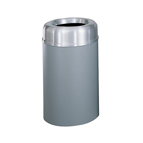 (Rubbermaid Commercial Products FGAOT30SAGRPL Crowne Collection Aluminum Refuse Container with Open Top (30-Gallon,)