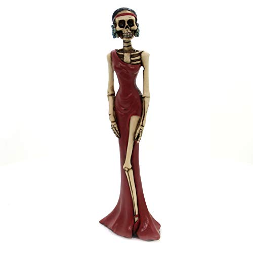 YTC 8 Inch Day of The Dead Lady in A Red Dress Statue Figurine Display ()