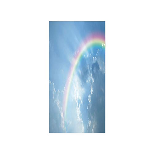 3D Decorative Film Privacy Window Film No Glue,Rainbow,Realistic Image of Clear Sky Clouds and Rainbow Daytime Heavenly Calming Tranquility,Sky Blue,for Home&Office