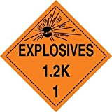 Accuform Signs MPL118VP100 Plastic Hazard Class 1/Division 2K DOT Placard, Legend ''EXPLOSIVES 1.2K 1'' with Graphic, 10-3/4'' Width x 10-3/4'' Length, Black on Orange (Pack of 100)