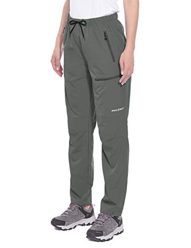 BALEAF Women's Cargo Hiking Pants Lightweight Capris Water Resistant UPF 50+ Shorts Steel Gray Size L