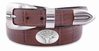 NCAA Texas Longhorns Tan Crocodile Tip Leather Concho Belt, (Texas Longhorns Belt)