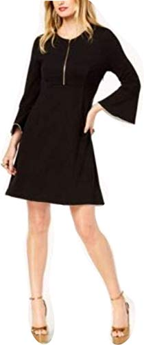 Rachel Zoe Womens Zip-Neck Bell Sleeve Shirtdress Black, used for sale  Delivered anywhere in USA