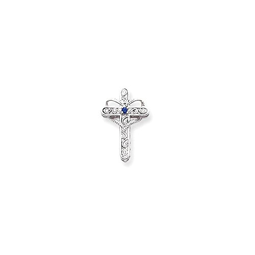 Jewels By Lux 14k White Gold Polish Filigree 1-Stone Mothers Cross Pendant Mounting