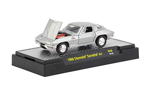 M2 Machines 1966 Chevrolet Corvette 427 (Silver Pearl Metallic) - Detroit Muscle Release 46 2018 Castline Premium Edition 1:64 Scale Die-Cast Vehicle (R46 19-02)