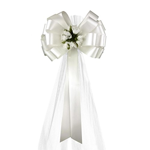 White Wedding Pull Bows with Tulle Tails and Rosebuds - 8'' Wide, Set of 6 by GiftWrap Etc.