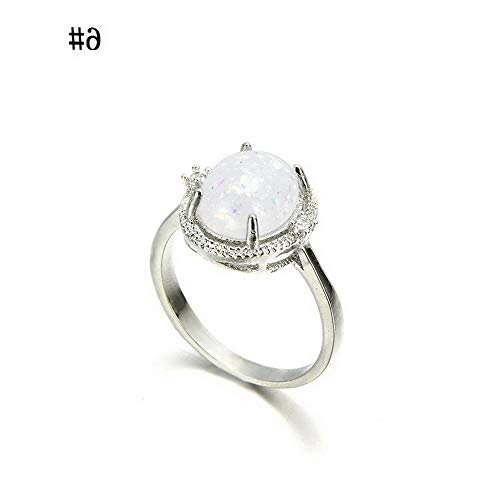 Wausa Vintage Zircon White Fire Opal Silver Ring Wedding Engagement Women Jewelry Gift   Model RNG - 22415   B 6# Dark Smoke Forged Leaf
