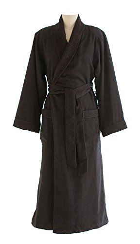 Chadsworth & Haig Microfiber Plush Bathrobe With Minx Lining - Men and Women - Charcoal - Medium